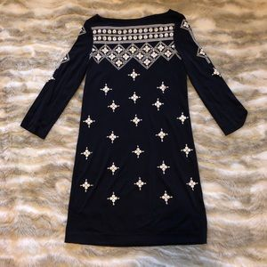 Tory Burch Navy Carleton Embellished Star Dress